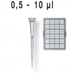 Наконечники 0,5-10 мкл с фильтром в кассете, стерильные (уп-96