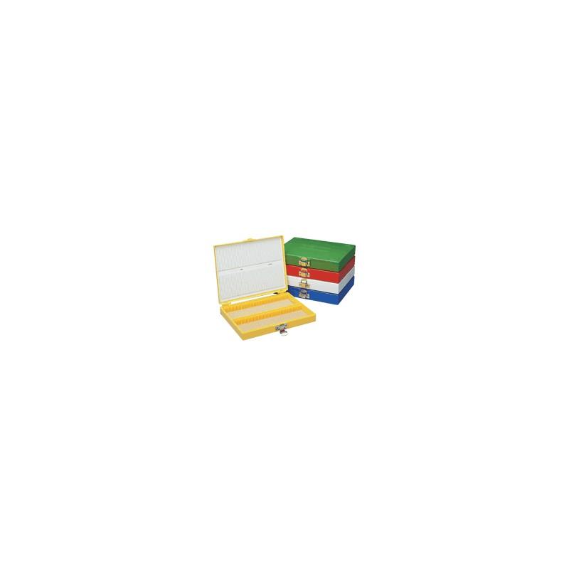 Коробка-штатив для 25 предметных стекол, желтая, с корковым