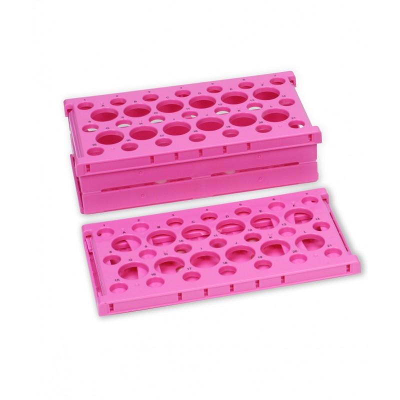 Штатив для пробирок на 15 и 50мл, 255х137х72мм,розовый