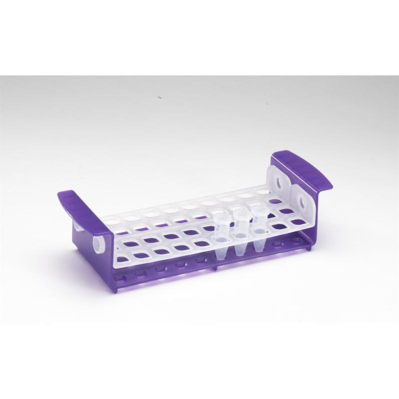 Штатив для микропробирок 5мл или пробирок 15мл на 40 гнезд, белый/фиолетовый (HS120167)
